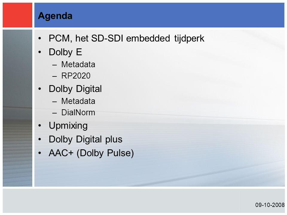 09-10-2008 Agenda •PCM, het SD-SDI embedded tijdperk •Dolby E –Metadata –RP2020 •Dolby Digital –Metadata –DialNorm •Upmixing •Dolby Digital plus •AAC+ (Dolby Pulse)