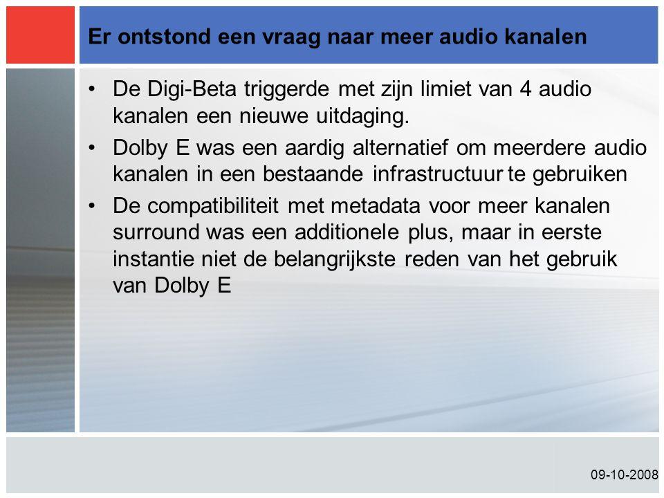 09-10-2008 Er ontstond een vraag naar meer audio kanalen •De Digi-Beta triggerde met zijn limiet van 4 audio kanalen een nieuwe uitdaging. •Dolby E wa