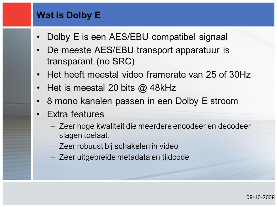 09-10-2008 Wat is Dolby E •Dolby E is een AES/EBU compatibel signaal •De meeste AES/EBU transport apparatuur is transparant (no SRC) •Het heeft meestal video framerate van 25 of 30Hz •Het is meestal 20 bits @ 48kHz •8 mono kanalen passen in een Dolby E stroom •Extra features –Zeer hoge kwaliteit die meerdere encodeer en decodeer slagen toelaat.
