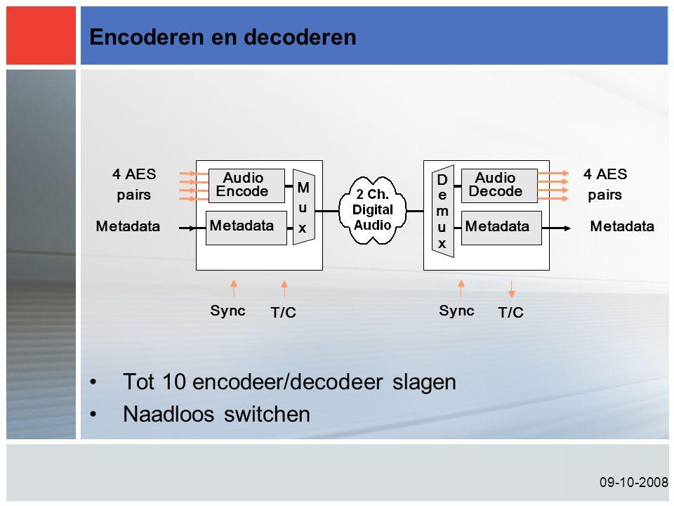 09-10-2008 Encoderen en decoderen Sync T/C Audio Encode Metadata M u x 4 AES pairs Metadata Sync T/C D e m u x Metadata Audio Decode 4 AES pairs Metadata •Tot 10 encodeer/decodeer slagen •Naadloos switchen