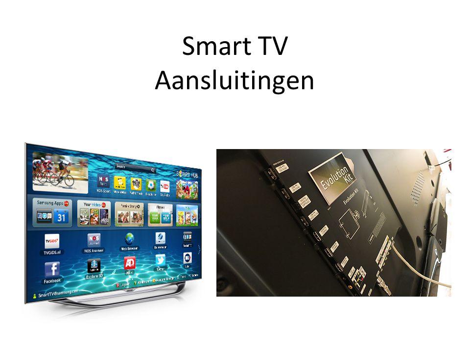 • Antenne / kabel • Satellietingang • Scart • Componentingang (Y,Pb,Pr) • Composietingang (AV) • VGA (om tv op oude pc's aan te sluiten, niet echt nuttig voor HD) • DVI + audio ingang (meestal mini jack) • HDMI (gewoon en met ARC en met MHL) • USB (meestal opgedeeld in normaal en met 1A voeding) • Kaartlezer (SD en andere) • Hoofdtelefoonuitgang • Digitale audio uitgang (meestal optisch) • Netwerk (RJ-45) en/of draadloos (WiFi) • WiDi netwerk • Bluetooth • Infrarood kanaal (IrDA) • Kaarthouder (CI kaart) voor bv telenet of satelliet abonnement.