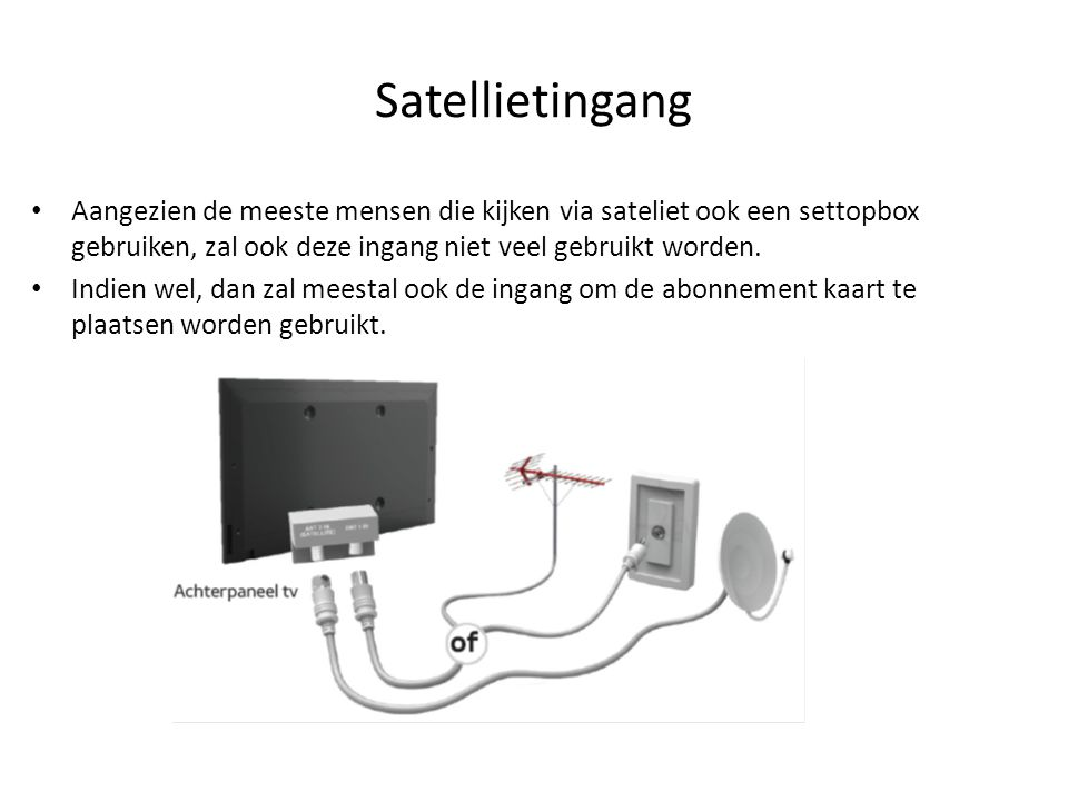 Satellietingang • Aangezien de meeste mensen die kijken via sateliet ook een settopbox gebruiken, zal ook deze ingang niet veel gebruikt worden. • Ind