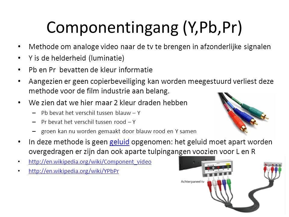 • Methode om analoge video naar de tv te brengen in afzonderlijke signalen • Y is de helderheid (luminatie) • Pb en Pr bevatten de kleur informatie •