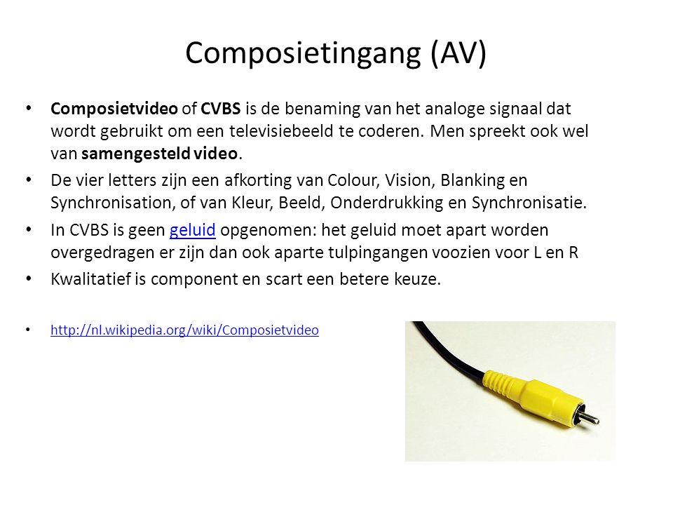 Composietingang (AV) • Composietvideo of CVBS is de benaming van het analoge signaal dat wordt gebruikt om een televisiebeeld te coderen. Men spreekt