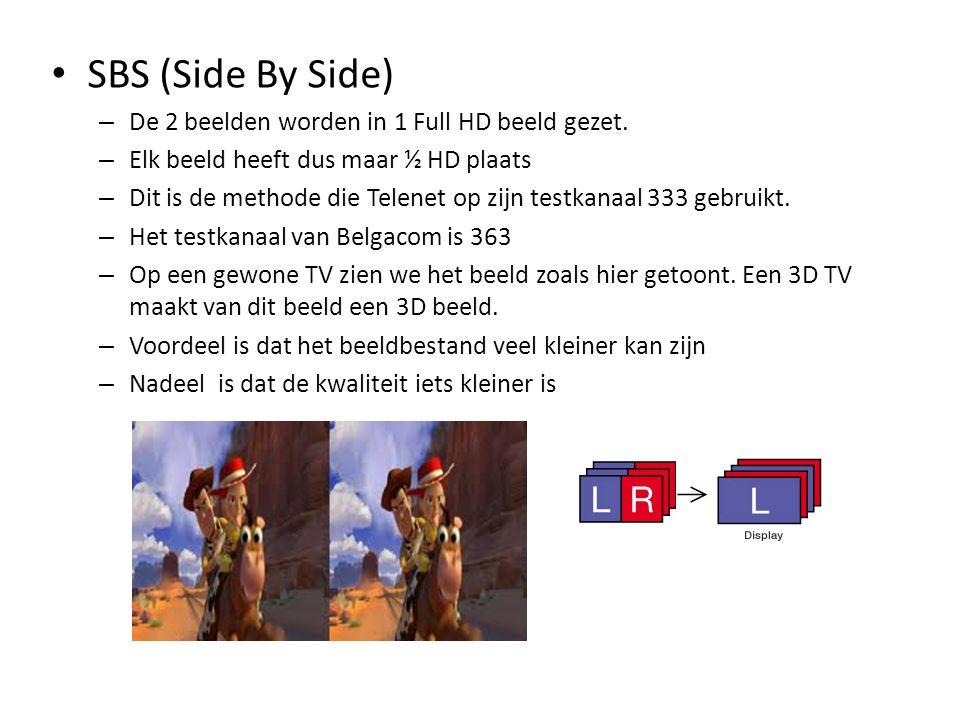 • SBS (Side By Side) – De 2 beelden worden in 1 Full HD beeld gezet. – Elk beeld heeft dus maar ½ HD plaats – Dit is de methode die Telenet op zijn te