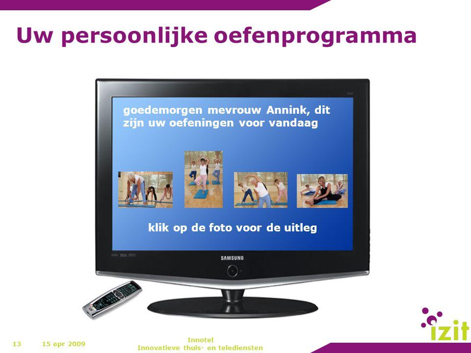 Uw persoonlijke oefenprogramma 13 goedemorgen mevrouw Annink, dit zijn uw oefeningen voor vandaag klik op de foto voor de uitleg 15 apr 2009 Innotel I