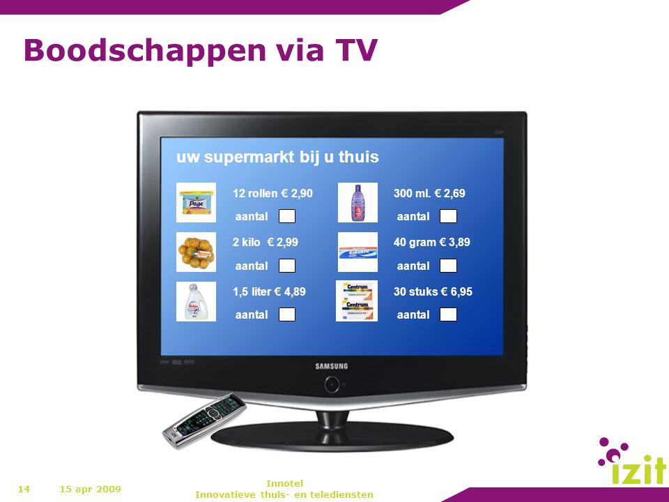 Boodschappen via TV 1415 apr 2009 Innotel Innovatieve thuis- en telediensten uw supermarkt bij u thuis 12 rollen € 2,90 aantal 2 kilo € 2,99 aantal 1,