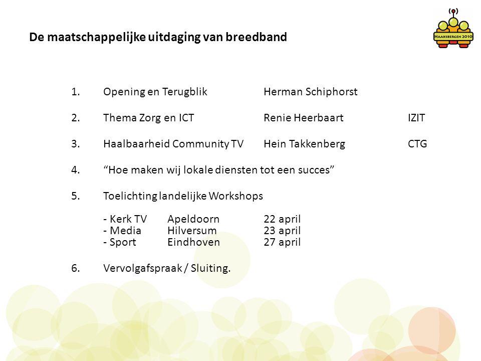 De maatschappelijke uitdaging van breedband 1.Opening en Terugblik Herman Schiphorst 2.Thema Zorg en ICTRenie Heerbaart IZIT 3.Haalbaarheid Community
