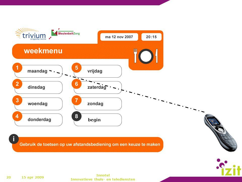 20 begin 15 apr 2009 Innotel Innovatieve thuis- en telediensten