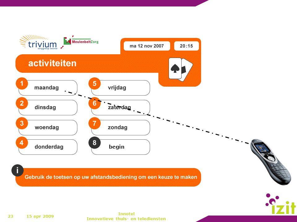 23 begin 15 apr 2009 Innotel Innovatieve thuis- en telediensten