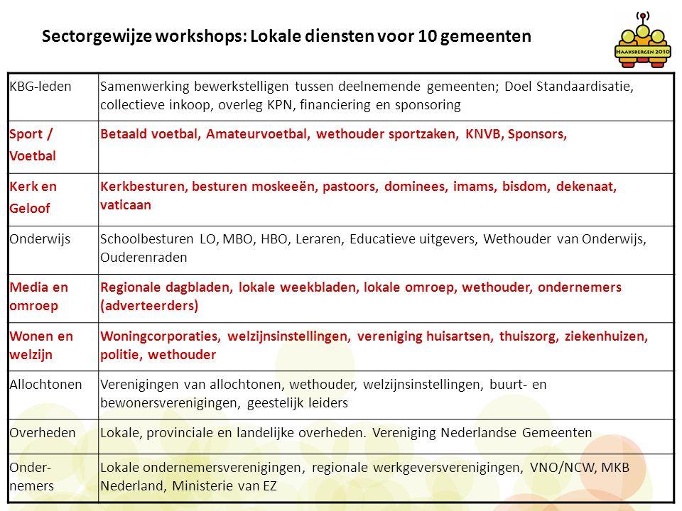 Sectorgewijze workshops: Lokale diensten voor 10 gemeenten KBG-ledenSamenwerking bewerkstelligen tussen deelnemende gemeenten; Doel Standaardisatie, c