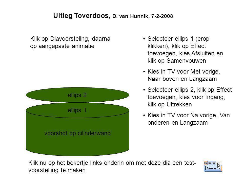Uitleg Toverdoos, D. van Hunnik, 7-2-2008 voorshot op cilinderwand ellips 1 ellips 2 •Selecteer ellips 1 (erop klikken), klik op Effect toevoegen, kie