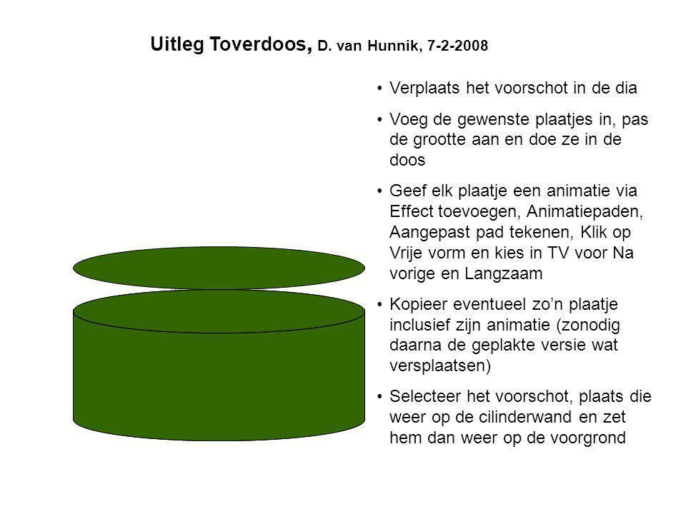 Uitleg Toverdoos, D. van Hunnik, 7-2-2008 •Verplaats het voorschot in de dia •Voeg de gewenste plaatjes in, pas de grootte aan en doe ze in de doos •G