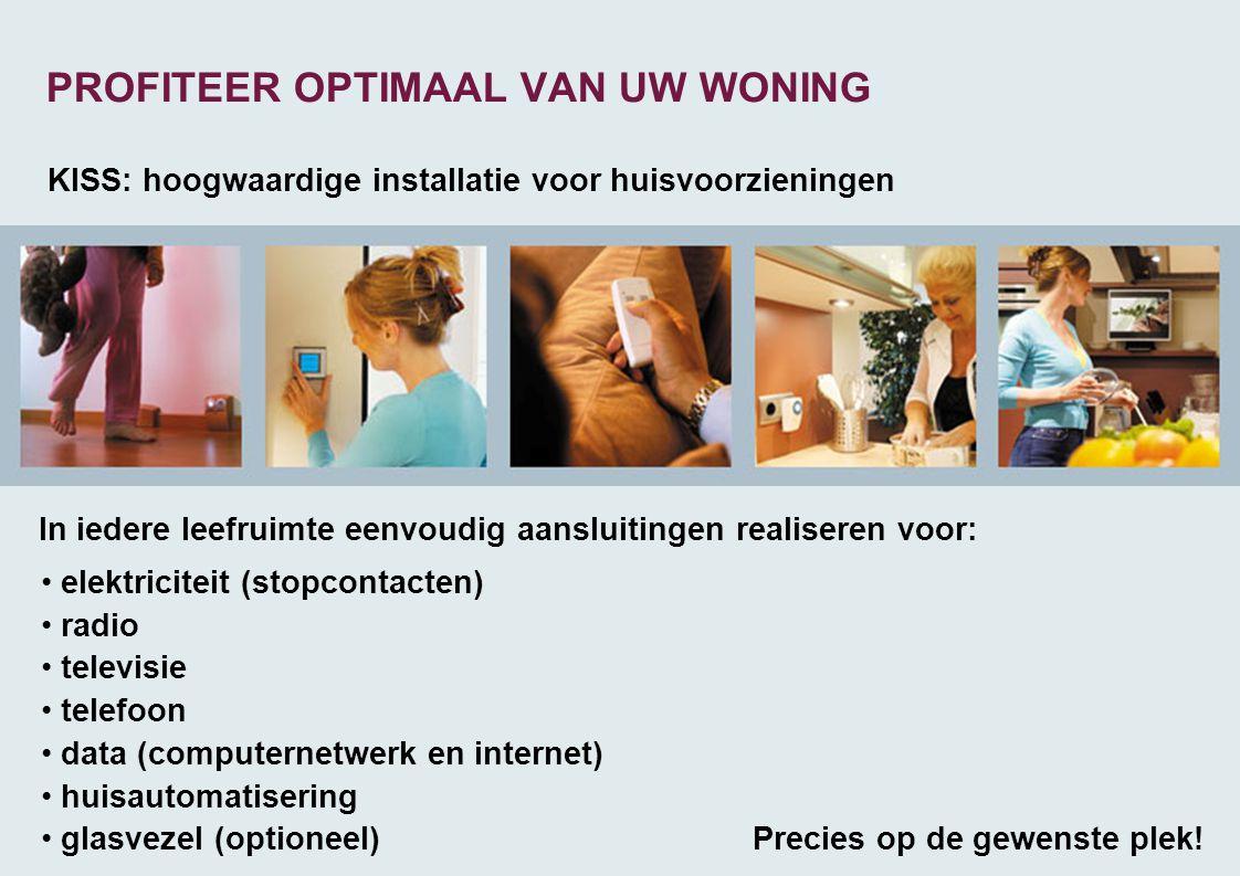 PROFITEER OPTIMAAL VAN UW WONING KISS: hoogwaardige installatie voor huisvoorzieningen • elektriciteit (stopcontacten) • radio • televisie • telefoon