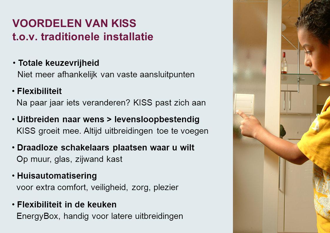 VOORDELEN VAN KISS t.o.v. traditionele installatie • Totale keuzevrijheid Niet meer afhankelijk van vaste aansluitpunten • Flexibiliteit Na paar jaar
