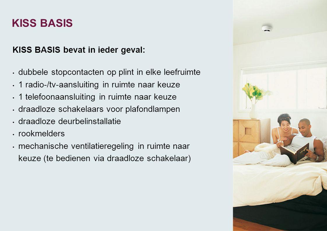 KISS BASIS bevat in ieder geval: • dubbele stopcontacten op plint in elke leefruimte • 1 radio-/tv-aansluiting in ruimte naar keuze • 1 telefoonaanslu