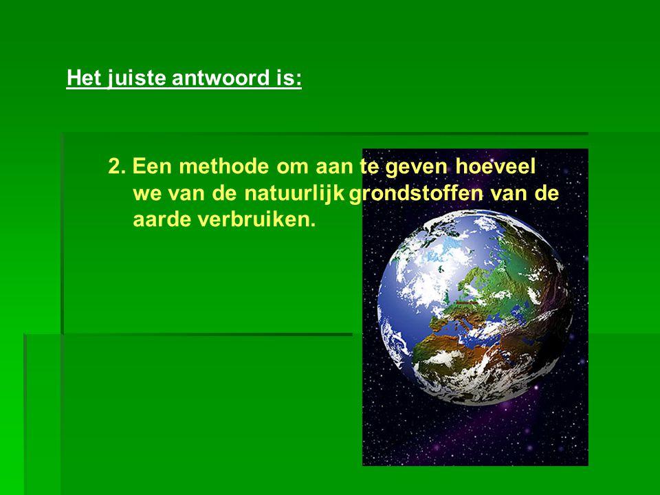 Het juiste antwoord is: 2. Een methode om aan te geven hoeveel we van de natuurlijk grondstoffen van de aarde verbruiken.