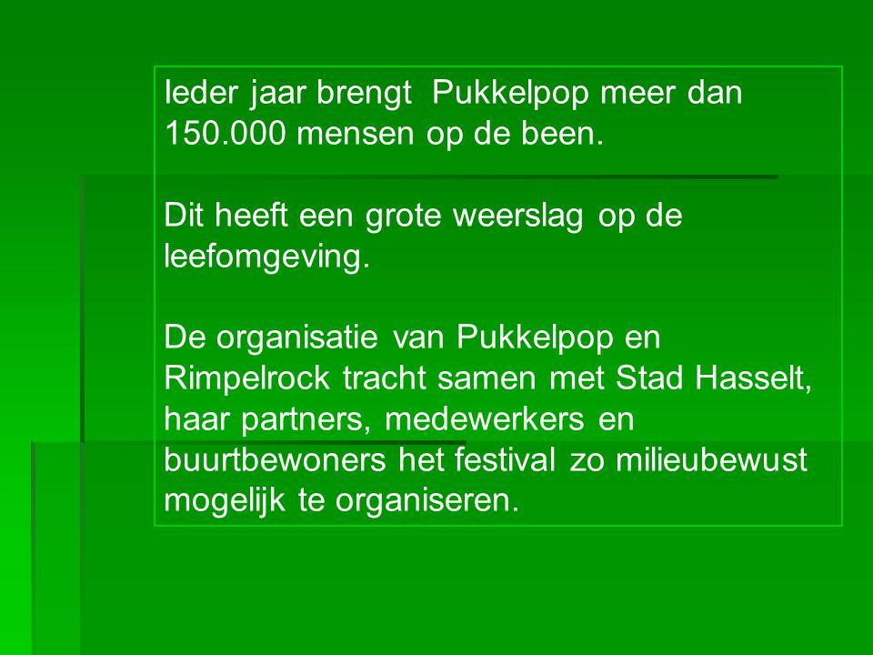 Ieder jaar brengt Pukkelpop meer dan 150.000 mensen op de been. Dit heeft een grote weerslag op de leefomgeving. De organisatie van Pukkelpop en Rimpe