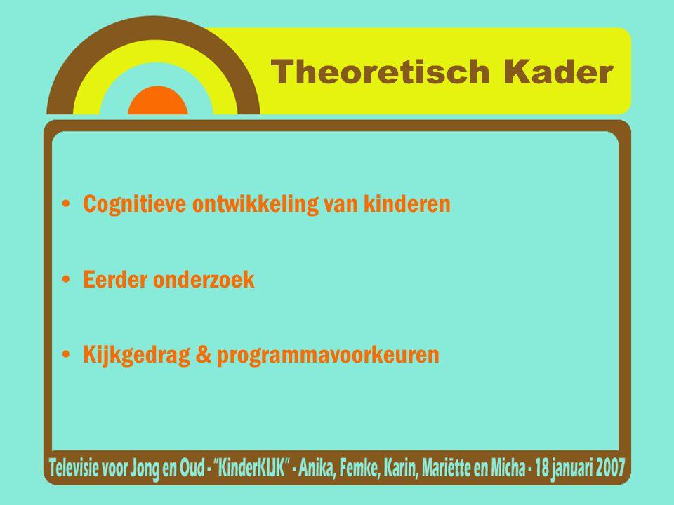 Theoretisch Kader •Cognitieve ontwikkeling van kinderen •Eerder onderzoek •Kijkgedrag & programmavoorkeuren