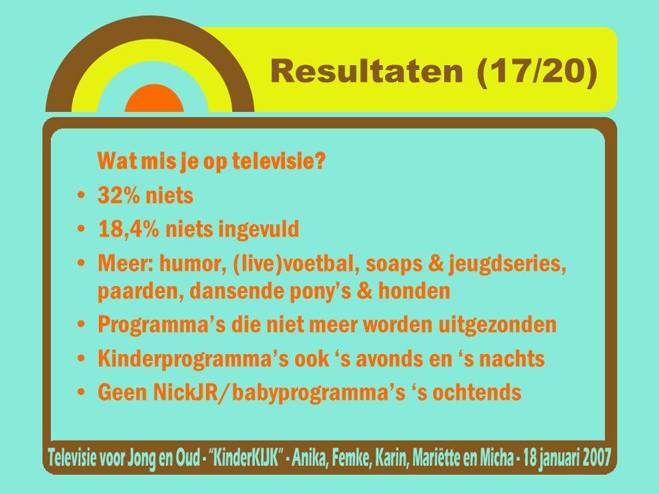Resultaten (17/20) Wat mis je op televisie.
