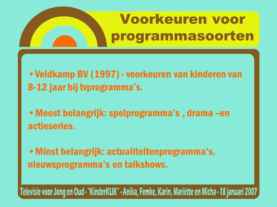 Voorkeuren voor programmasoorten •Veldkamp BV (1997) - voorkeuren van kinderen van 8-12 jaar bij tvprogramma's.