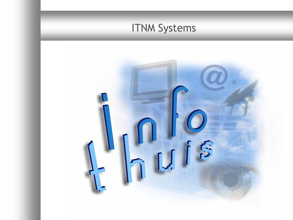 ITNM Systems productoverzicht v1.7112 IDM100 kenmerken  Direct  Continue analyse van honderden radio- en televisieprogramma's  Gemakkelijk implementeerbaar  Bediening via standaard webbrowser  Pragmatisch  Flexibele grenzen naar wens van de gebruiker en robuustheid van de consumentendecoder voorkomt onnodige meldingen