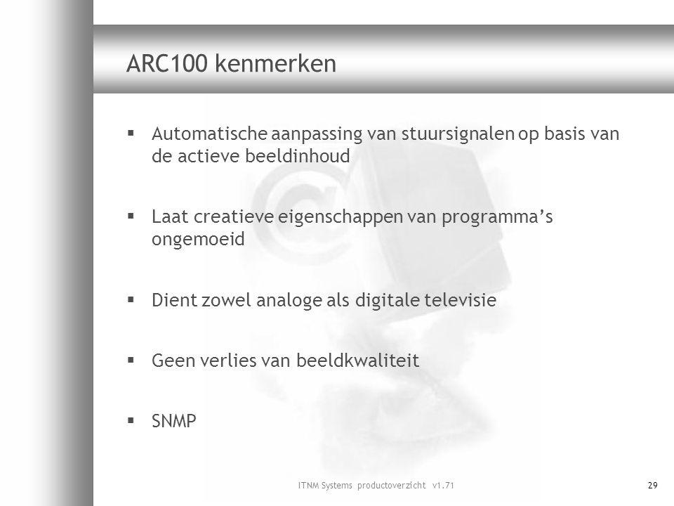 ITNM Systems productoverzicht v1.7129 ARC100 kenmerken  Automatische aanpassing van stuursignalen op basis van de actieve beeldinhoud  Laat creatiev