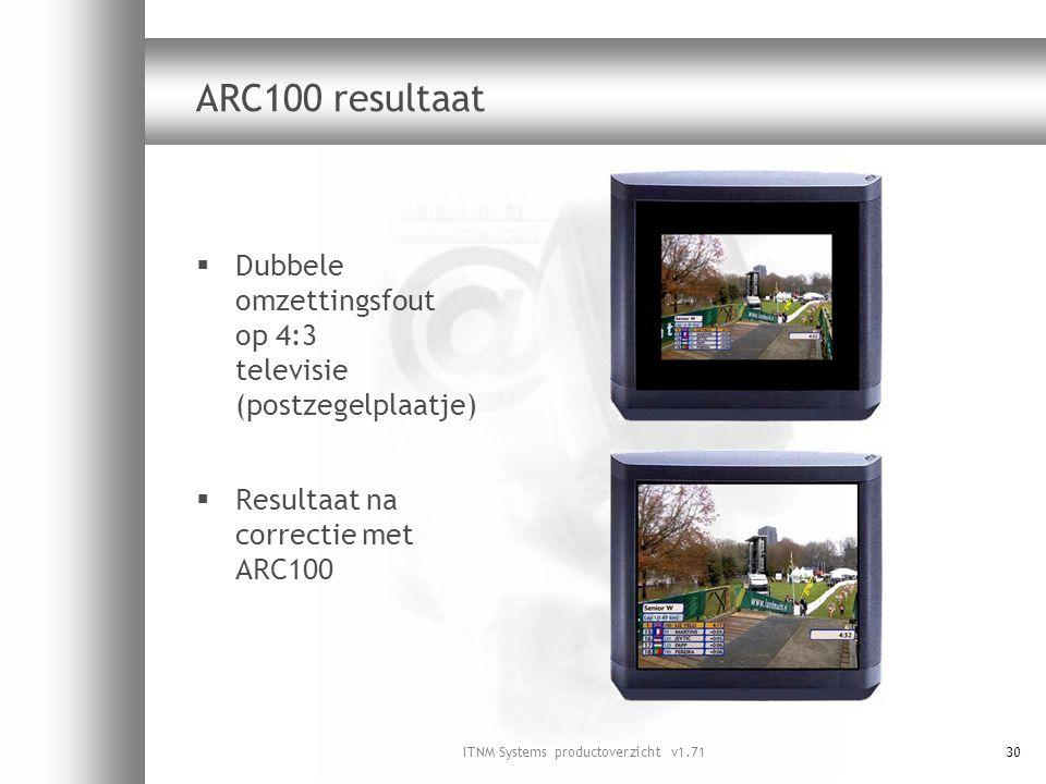 ITNM Systems productoverzicht v1.7130 ARC100 resultaat  Dubbele omzettingsfout op 4:3 televisie (postzegelplaatje)  Resultaat na correctie met ARC10