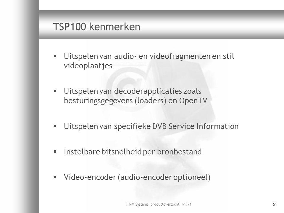 ITNM Systems productoverzicht v1.7151 TSP100 kenmerken  Uitspelen van audio- en videofragmenten en stil videoplaatjes  Uitspelen van decoderapplicat
