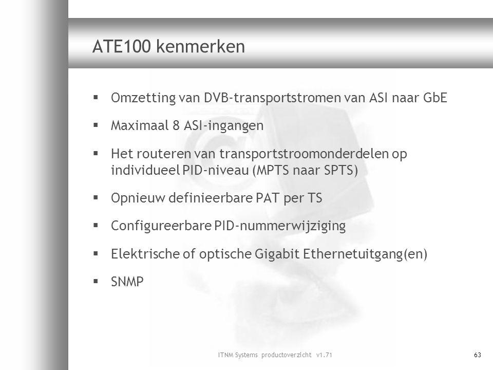 ITNM Systems productoverzicht v1.7163 ATE100 kenmerken  Omzetting van DVB-transportstromen van ASI naar GbE  Maximaal 8 ASI-ingangen  Het routeren