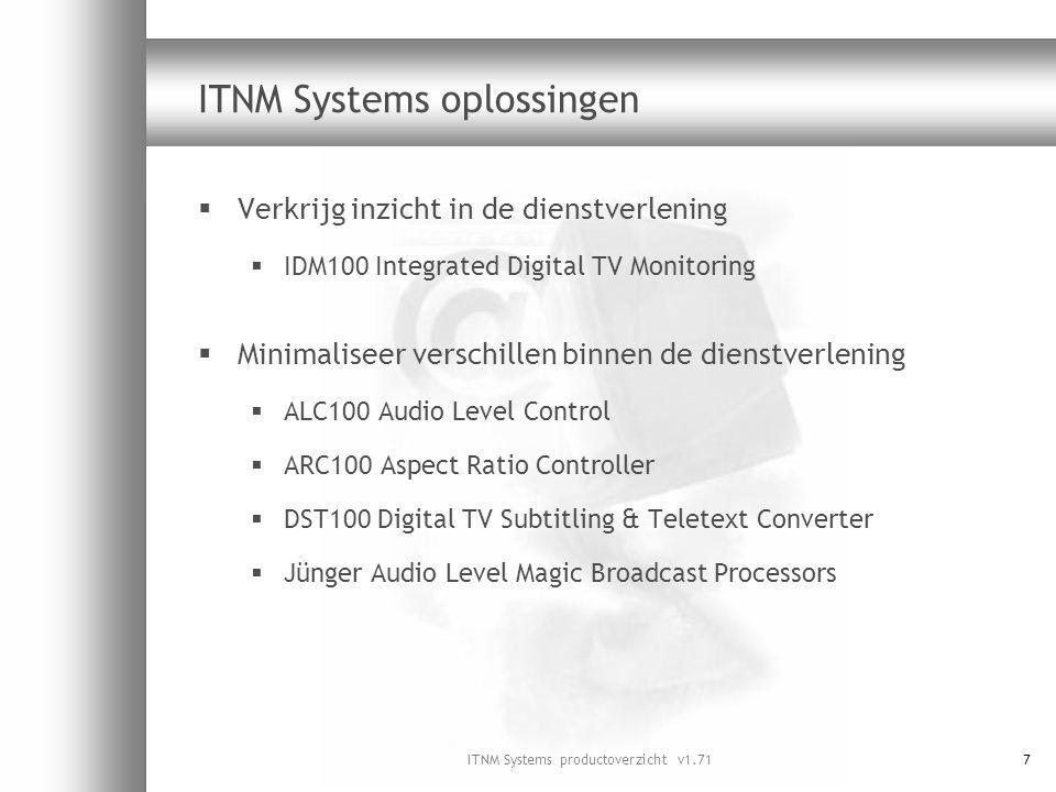 ITNM Systems productoverzicht v1.7168 Radiotekst  Interactieve radio door toevoeging van programma- informatie, nieuwsberichten en teletekst  Betere profilering van de radiostations  Toegevoegde waarde voor de klant via de digitale decoder