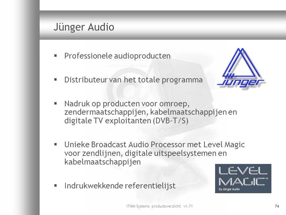 ITNM Systems productoverzicht v1.7174 Jünger Audio  Professionele audioproducten  Distributeur van het totale programma  Nadruk op producten voor o