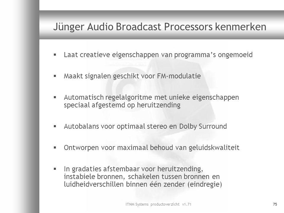 ITNM Systems productoverzicht v1.7175 Jünger Audio Broadcast Processors kenmerken  Laat creatieve eigenschappen van programma's ongemoeid  Maakt sig