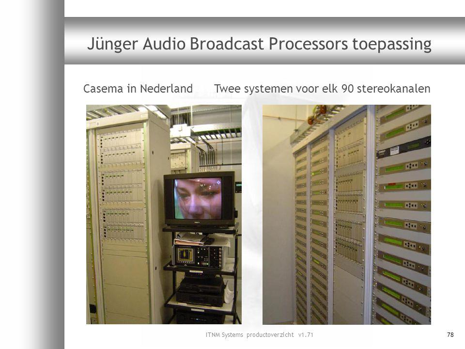 ITNM Systems productoverzicht v1.7178 Jünger Audio Broadcast Processors toepassing Casema in Nederland Twee systemen voor elk 90 stereokanalen