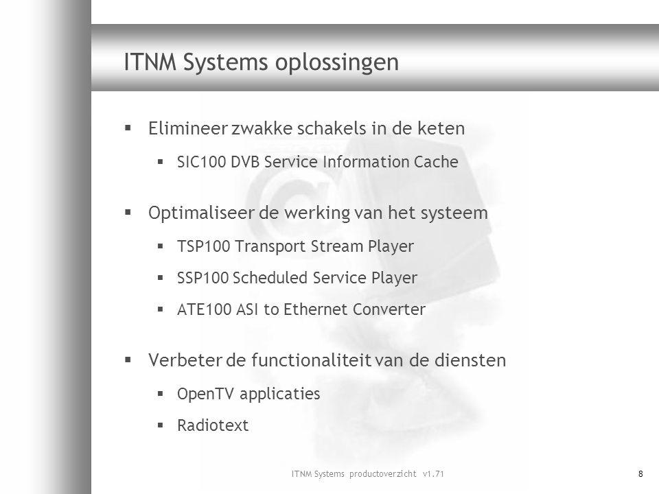 ITNM Systems productoverzicht v1.7149 Aandachtspunten functionaliteit  Er is een uitspeelsysteem nodig voor:  Besturingsysteem settopbox  Stil video plaatjes voor tijdgeschakelde zenders  Decoderapplicaties (indien van toepassing)  Integratie van randapparatuur blijkt soms lastig te zijn  Multiplexer vraagt soms om specifieke configuratie  Videoplaatjes moeten geëncodeerd worden