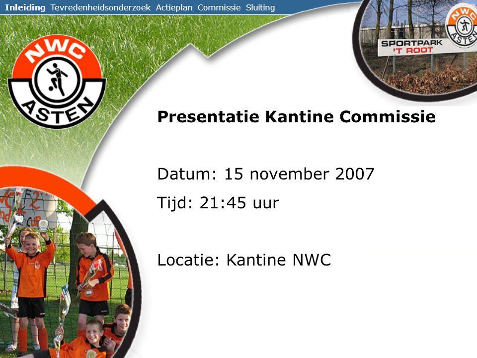 Presentatie Kantine Commissie Datum: 15 november 2007 Tijd: 21:45 uur Locatie: Kantine NWC Inleiding Tevredenheidsonderzoek Actieplan Commissie Sluiting