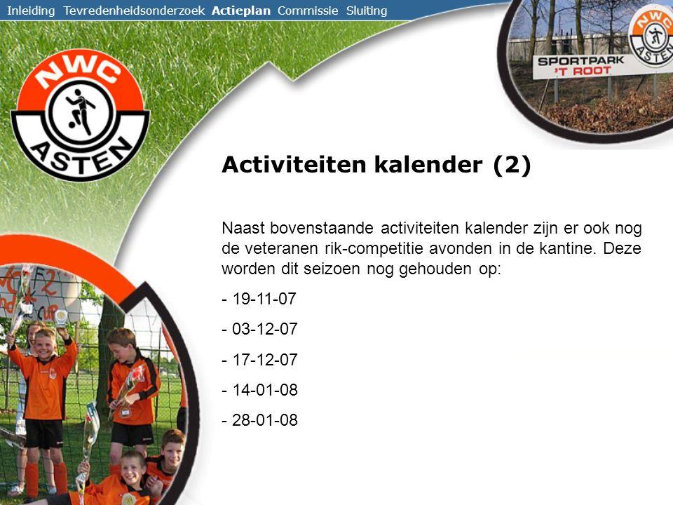 Inleiding Tevredenheidsonderzoek Actieplan Commissie Sluiting Activiteiten kalender (2) Naast bovenstaande activiteiten kalender zijn er ook nog de veteranen rik-competitie avonden in de kantine.