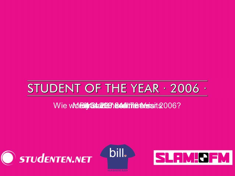404.267 stemmers Meer dan 3.244.761 visitsBijna 300 deelnemersWie wordt Student of the Year 2006?