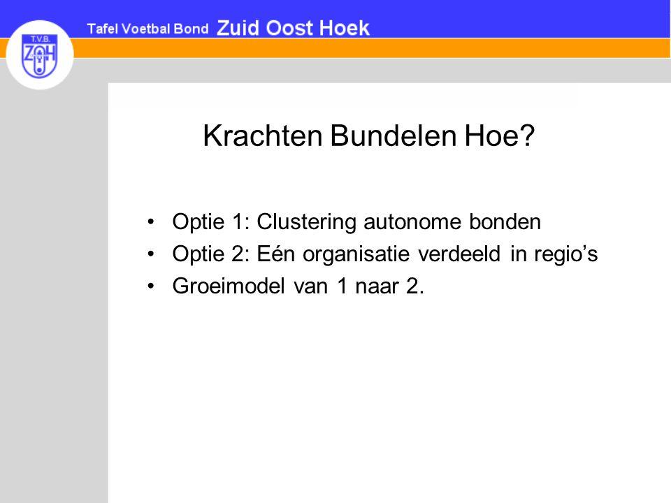 Krachten Bundelen Hoe? •Optie 1: Clustering autonome bonden •Optie 2: Eén organisatie verdeeld in regio's •Groeimodel van 1 naar 2.