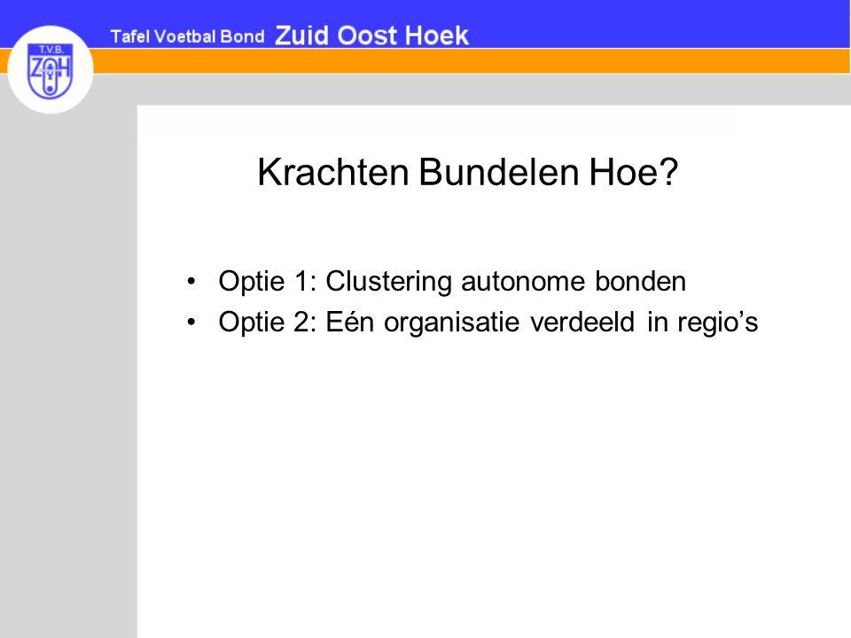 Krachten Bundelen Hoe? •Optie 1: Clustering autonome bonden •Optie 2: Eén organisatie verdeeld in regio's