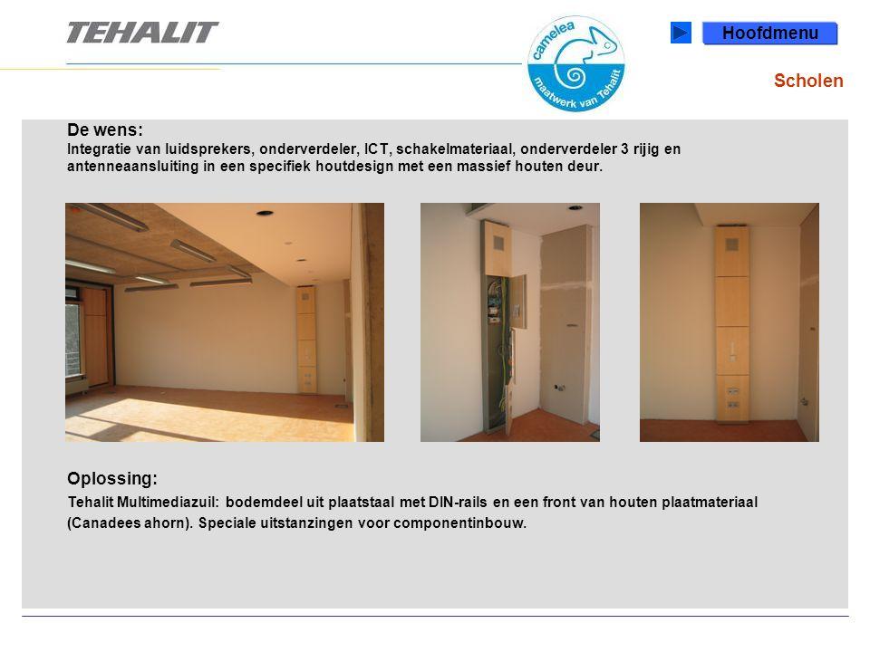 Scholen De wens: Integratie van luidsprekers, onderverdeler, ICT, schakelmateriaal, onderverdeler 3 rijig en antenneaansluiting in een specifiek houtdesign met een massief houten deur.