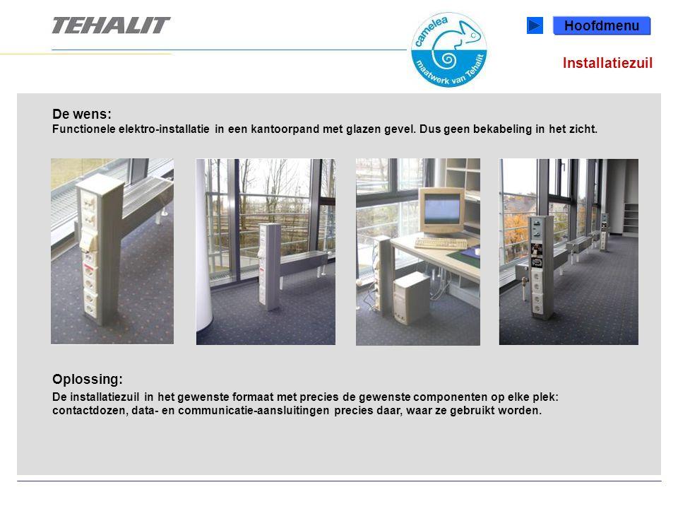 Installatiezuil De wens: Functionele elektro-installatie in een kantoorpand met glazen gevel.