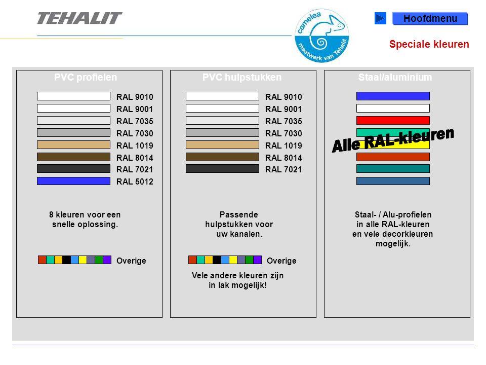 Speciale kleuren Hoofdmenu PVC profielenStaal/aluminiumPVC hulpstukken RAL 9010 RAL 9001 8 kleuren voor een snelle oplossing.