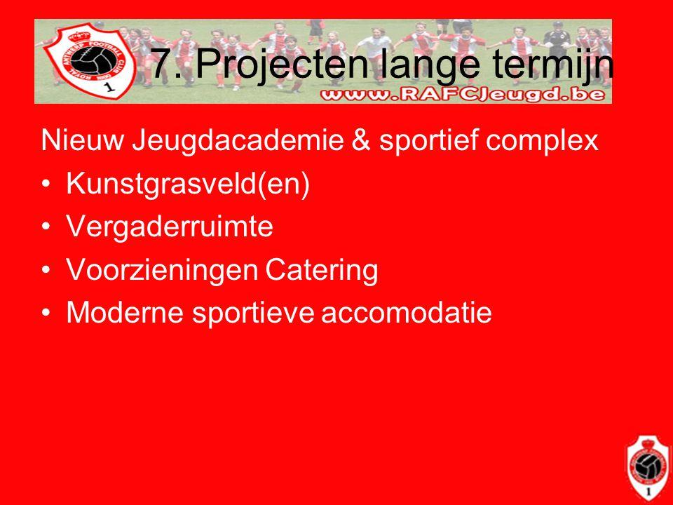 7. Projecten lange termijn Nieuw Jeugdacademie & sportief complex •Kunstgrasveld(en) •Vergaderruimte •Voorzieningen Catering •Moderne sportieve accomo