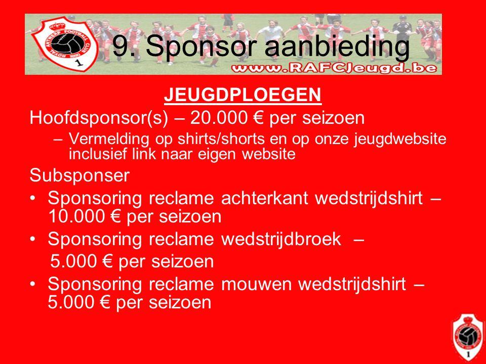 9. Sponsor aanbieding JEUGDPLOEGEN Hoofdsponsor(s) – 20.000 € per seizoen –Vermelding op shirts/shorts en op onze jeugdwebsite inclusief link naar eig