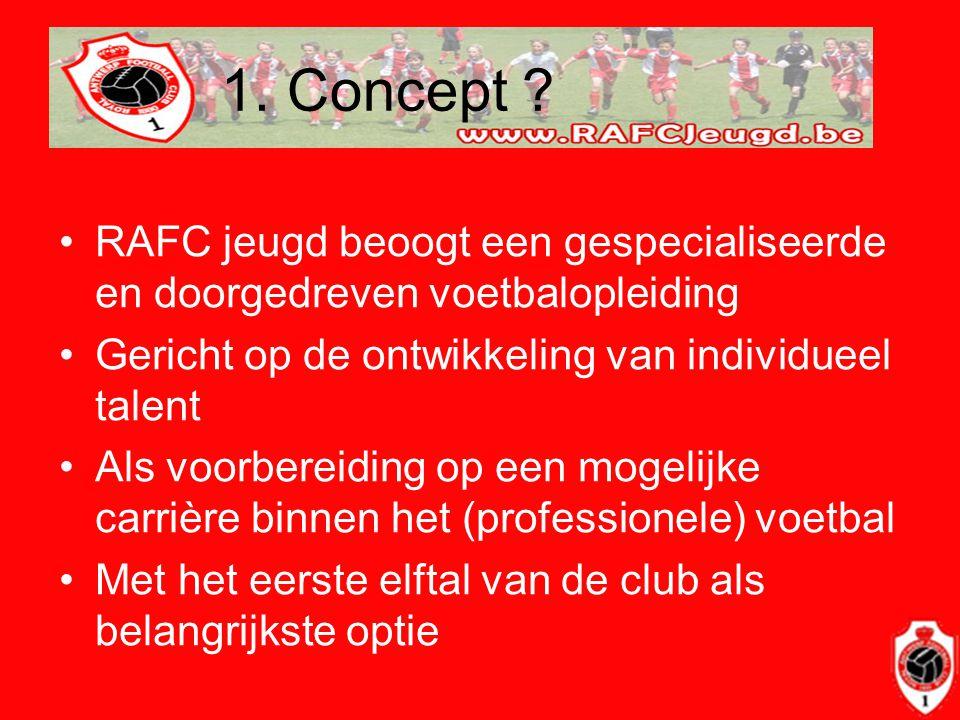 1. Concept ? •RAFC jeugd beoogt een gespecialiseerde en doorgedreven voetbalopleiding •Gericht op de ontwikkeling van individueel talent •Als voorbere