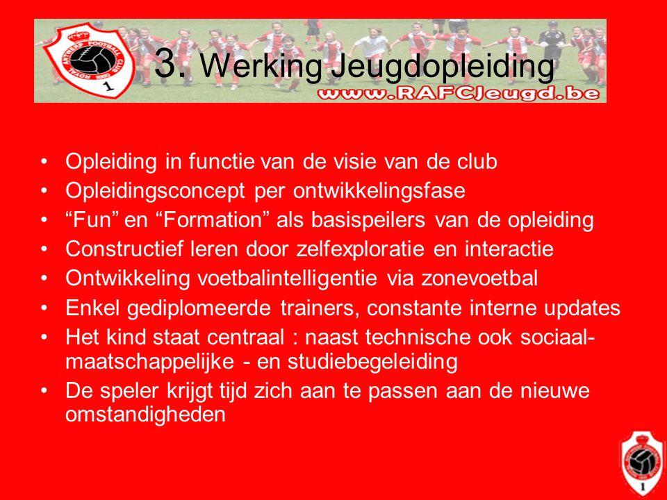 """3. Werking Jeugdopleiding •Opleiding in functie van de visie van de club •Opleidingsconcept per ontwikkelingsfase •""""Fun"""" en """"Formation"""" als basispeile"""