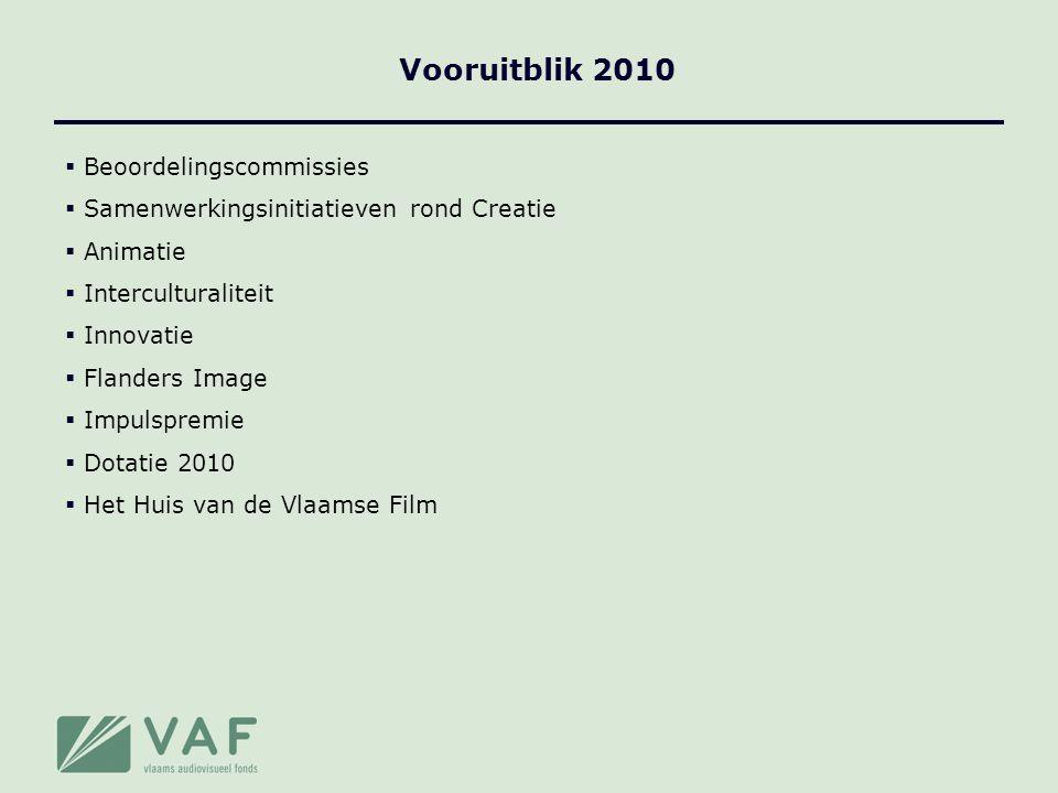  Beoordelingscommissies  Samenwerkingsinitiatieven rond Creatie  Animatie  Interculturaliteit  Innovatie  Flanders Image  Impulspremie  Dotatie 2010  Het Huis van de Vlaamse Film Vooruitblik 2010
