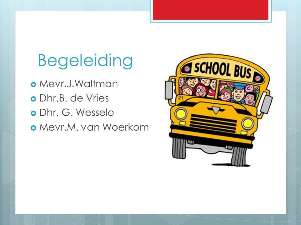 Begeleiding  Mevr.J.Waltman  Dhr.B. de Vries  Dhr. G. Wesselo  Mevr.M. van Woerkom