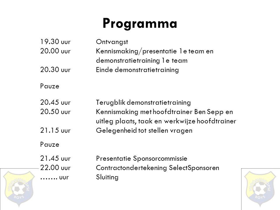 Programma 19.30 uurOntvangst 20.00 uurKennismaking/presentatie 1e team en demonstratietraining 1e team 20.30 uurEinde demonstratietraining Pauze 20.45